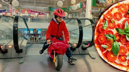 Den ride on red sportbike to the supermarket buy cheese for pizza