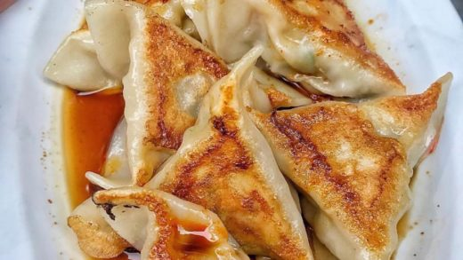 Dumplings  . Pork dumplings with soy sauce! I could eat this all day. Cred ...