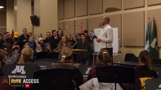 Elite Access: P.J. Fleck Surprises Marching Band with Pizza!