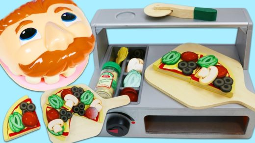Feeding Mr. Play Doh Head from Wooden Pizza Oven Counter Playset!