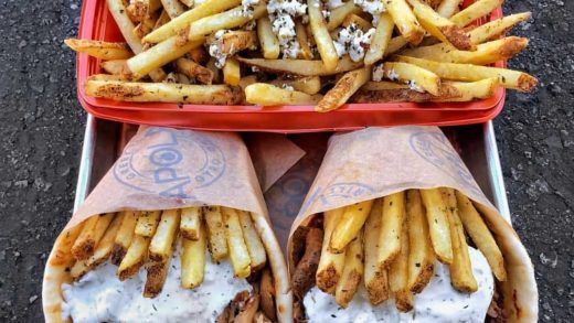Gyros with sliced potatoes fries        ...