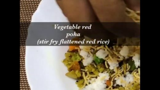 Healthy poha recipe - Indian flattened red rice stir fry with vegetables