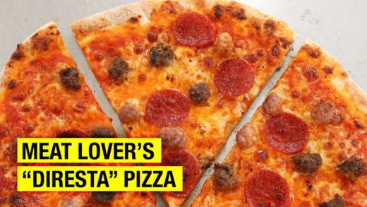How to Make DIRESTA'S MEATLOVER PIZZA : Pepperoni, Sausage & Meatball !