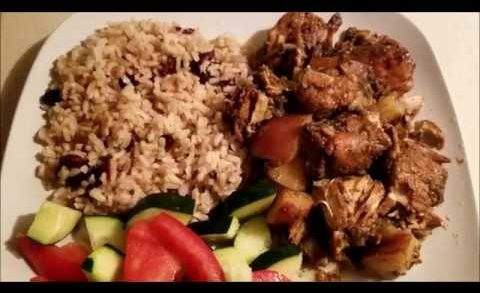 How to make  Jerk Chicken /Jerk Chicken/Jamaican stewed Jerk chicken/Jamaican Rice and Peas