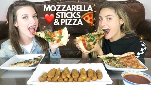 MOZZARELLA STICKS AND PIZZA MUKBANG!