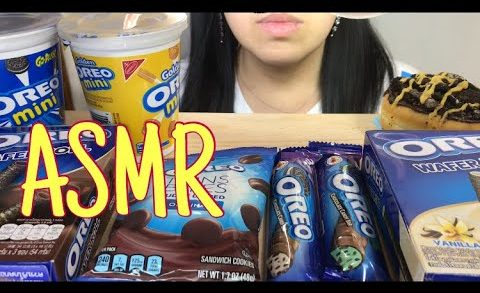 OREO ICE CREAM,DUNKIN DONUT,CHOCOLATE BAR,FUDGE,VANILA WAFER ROLLS ASMR DESSERT EATING SOUNDS 먹방