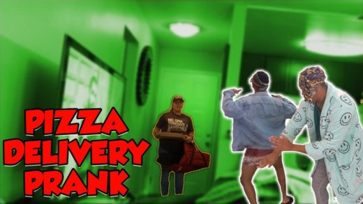 PRANK ON PIZZA DELIVERY GUY!!!! **PIZZA MAN GETS MAD**
