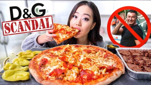 Papa John's CHEESY LARGE PIZZA + DOUBLE CHOCOLATE BROWNIES MUKBANG (Dolce & Gabbana Scandal)