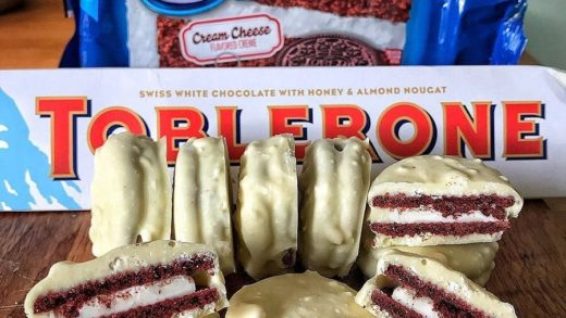 Red Velvet Oreos Covered in White Toblerone Chocolate  Delicious combination.  Tag your  friends.  Made by  ...