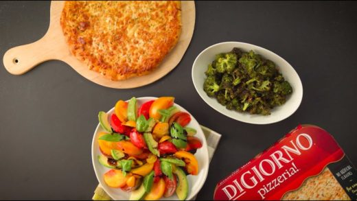 Roasted Garlic Broccoli & Avocado Tomato Salad paired with Four Cheese Pizza