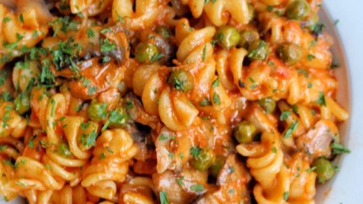 Spiraling out of control  Fusilli Boscaiola - spiral pasta with a creamy tomato sauce with mushroom & peas from   ...