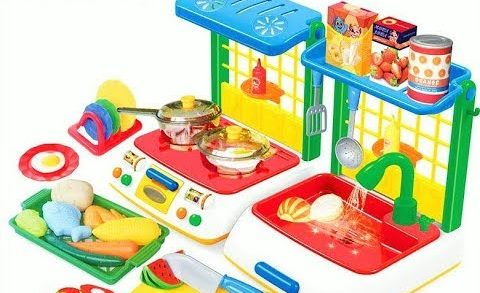 Toy kitchen Set Cooking  vegetables soup baking bread slime egg velcro Baby Doll