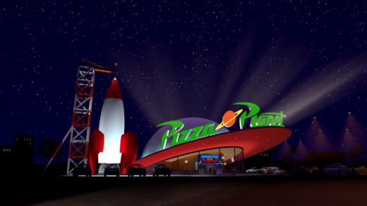 Toy story Buzz and Woody go to Pizza Planet