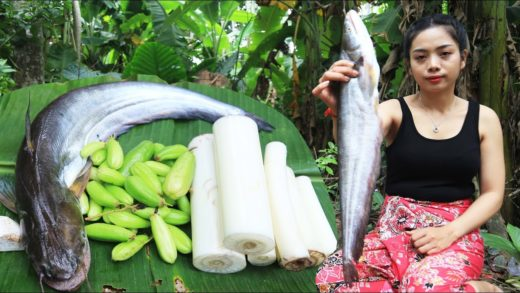Yummy cooking soup fish with banana tree recipe - Cooking skill