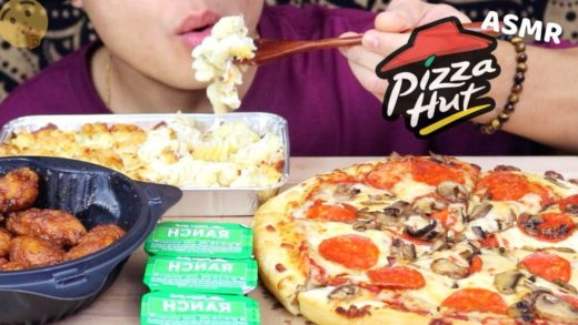 ASMR PIZZA HUT MUKBANG | CHICKEN ALFREDO PASTA, HONEY BBQ WINGS, & PIZZA | 99.2% NO TALKING 먹방