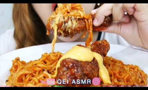 Asmr Eating Sound||Qei ASMR||Noodlle and chicken wings