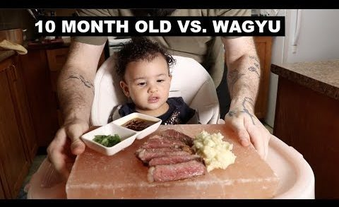 BABY TRIES: $120 WAGYU STEAK & WASABI MASHED POTATOES FOR THE FIRST TIME! | MUKBANG