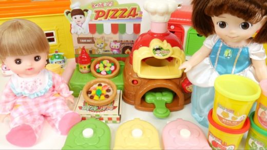 Baby Doll Pizza Shop and Play Doh Pizza Toys with Kongsuni , Mell Chan , Remin & Solan