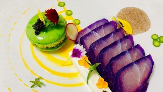 """By  """"Cured white snapper, wasabi macaron, Crème fraîche, pickled asparagus, lemon compote, white chia seeds."""" .                           ..."""