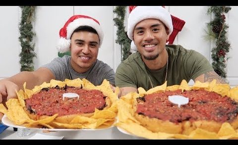 CHICAGO STYLE DEEP DISH PIZZA CHALLENGE! 12 FOOD CHALLENGES OF XMAS