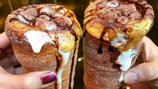 Chimney cake hot coco will melt your heart - :  Follow  for more delicious videos! . . .                              ...