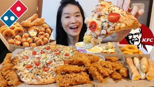 DOMINO'S PIZZA & KFC! Curry Chicken Tenders, Sugoi Pizza, Onion Rings | Mukbang w Asmr Eating Sounds