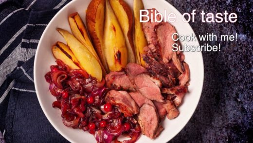 Duck breast with baked pear and caramelized onions. Perfect recipe #Bibleoftaste
