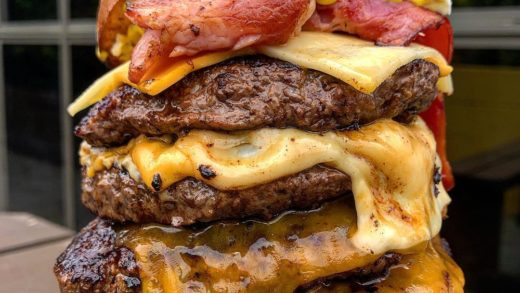 GETTA QUAD CHEESE  . . Getta burger dipping their toes in to the world of Wagyu! Two Wagyu beef patties, Swiss cheese, American cheddar, Red Leicester, with cream cheese, mustard and tomato sauce and added bacon and extra Wagyu patties  . . . This burg wa...