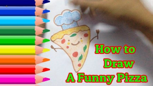 How To Draw A Funny Pizza - Pizza Cute Easy draw tutorials - Kid DrawArt