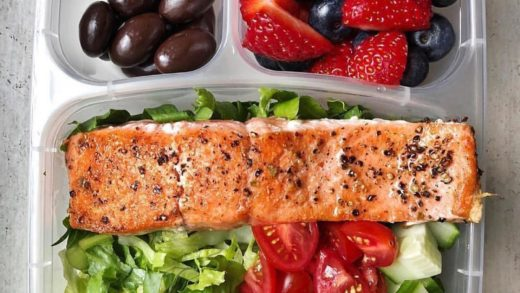 Lunch box 1 or 2?  1. Find someone that looks at you the way I look at salmon in my lunchbox  My favorite  is chopped romaine lettuce topped with cucumber, tomatoes and seared  with  and strawberries and chocolate covered  on the side. Both these delicious...