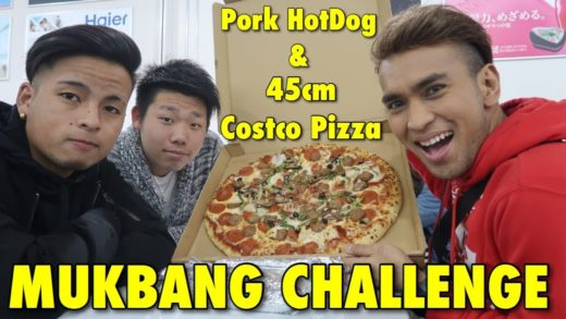 Mukbang Challenge | 45cm Costco Pizza and Pork HotDog  | Costco Iruma, Saitama Japan