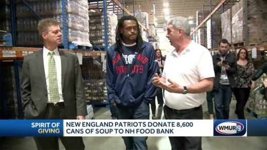 Patriots donate 8,600 cans of soup to New Hampshire Food Bank
