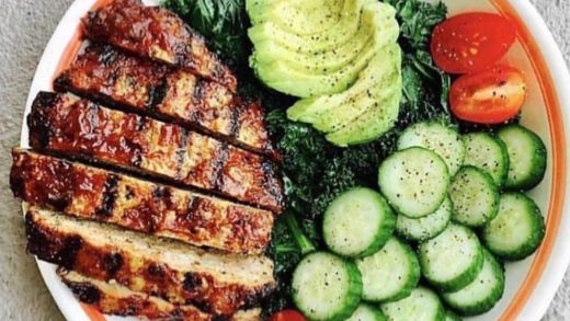 Sliced baby cukes tomatoes and BBQ turkey burger, 1/2 sliced avacodo Diced cucumbers sautéed spinach .        ) ) ( (  Credit ...
