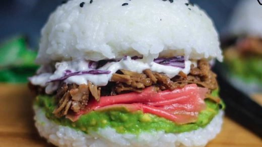 Sushi burger with teriyaki chicken                           ...