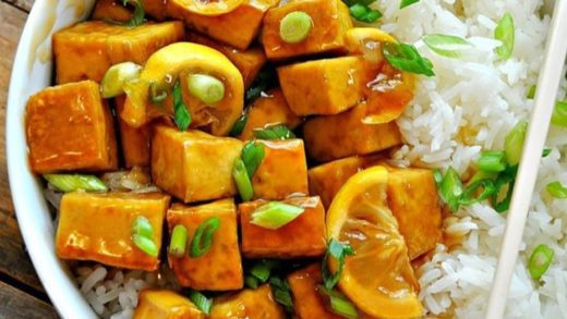 Vegan Sticky Lemon Tofu by   .  Ingredients: 15 oz.( 1 block) Extra firm tofu 1 Tablespoon Olive oil A few pinches of Salt and Pepper 2 Tablespoons Soy sauce 1/3 Cup Agave syrup Juice of 1 Lemon Zest of 1 Lemon 1/2 Cup Vegetable broth 1 Tablespoon Cornstar...