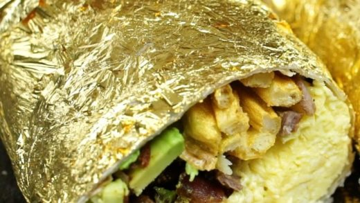 WORLD'S FIRST 24 Karat Golden Breakfast Burrito  Who would try it? ...
