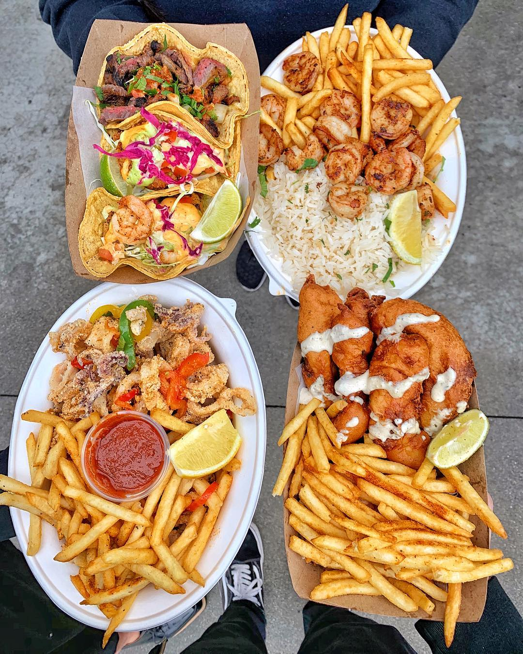 When your meal prepping consists of FISH TACOS, FISH & CHIPS and TACOS. : (Steak/Fish/Shrimp Tacos, Shrimp/Fries Plate, Calmari and Fish & Chips).⠀ :  ⠀ ——————————————— ⠀                              ...