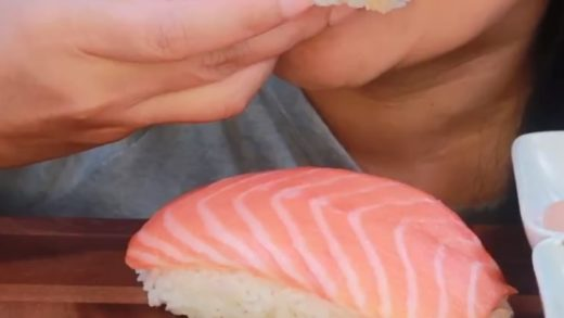 cr:   Giant unagi & salmon nigiri  — *This video is for ASMR purposes. If you don't like it, don't watch it. Hate is deleted bc no one is forcing you to watch :-)* → Follow my main account:               ...