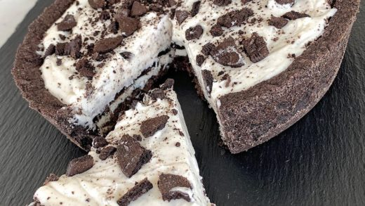 No Bake Oreo Cheesecake with custom Oreo pie crust. DM me for the recipe....