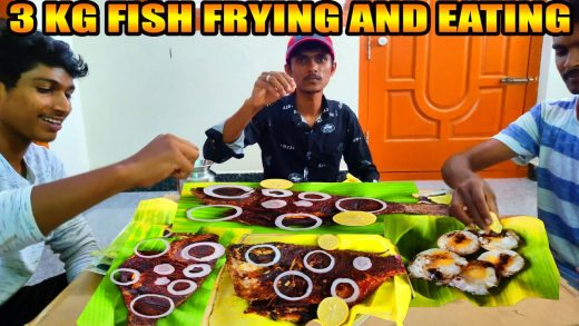 3 KG FISH FRY EATING IN VILLAGE | WHOLE FISH COOKING AND EATING | KENDAI MEEN FRY | SRM COOKING