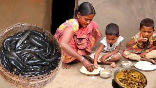 A santali tribe mother cooking small fish curry recipe for her children's || bengali community life