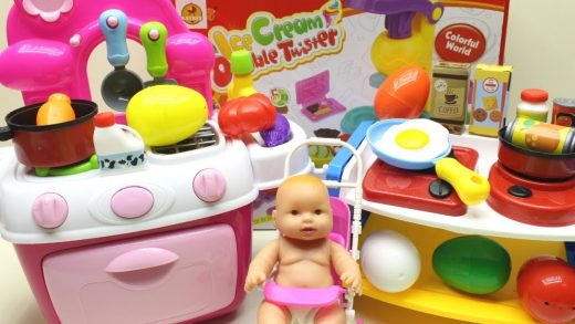Baby Doll Playing With Toy Kitchen Set Shopping cooking Egg and Eating Surprise Eggs Toy Play set