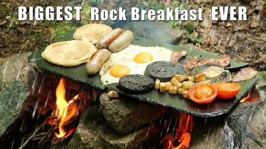 Biggest Bushcraft Breakfast cooked on a Rock in the Rain
