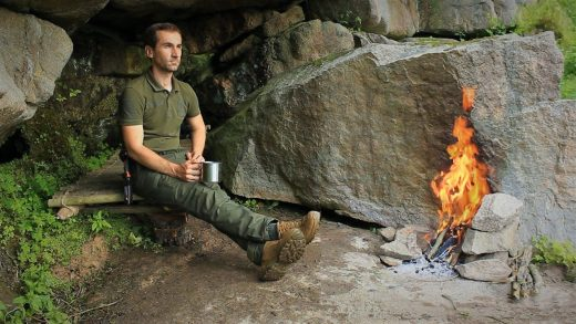 Bushcraft Camp in the Cave, Catch and Cook, Smoked Fish and Roasted Catfish, Rose Hip Tea