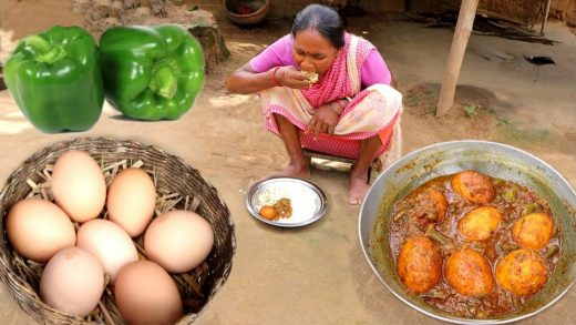 COUNTRY EGG curry cooking & eating with rice by santali tribe grandma || rural India orissa