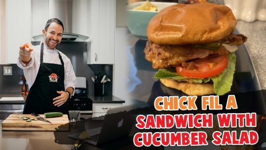 Chick Fil-A Healthy Crispy Chicken Sandwich with Cucumber Salad