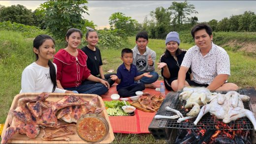 Cook and Eat: Fun time with my family eating grilled chicken / Cook and eat grilled chicken
