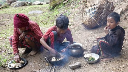 Cooking dry meat recipe || Traditional village lifestyle