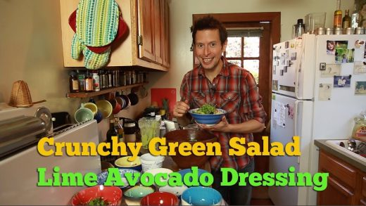 Crunchy Green Salad with Lime Avocado Dressing: Raw Vegan Superfood Recipe
