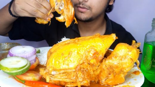EATING SHOW || SPICY FULL CHICKEN CURRY WITH RICE || SALAD || Hungry gadwali.